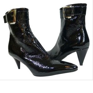 NEW Prada Black Patent Leather Buckle Ankle Boot